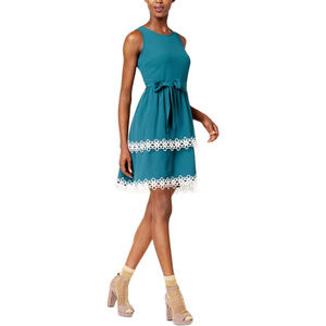 Maison Jules Tiered Fit Flare Casual Sea Gave Dres